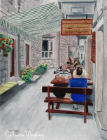 Street Life pt 3, a pretty gouache, watercolour painting, people are eating and drinking under a canope while cushions are set out on low walls for extra comfort, enticing all who pass to stop, to take a break and talk to some of the locals. By London Artist, Tracie Wayling.
