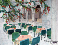 Street Life pt 5, a peaceful gouache, watercolour painting, the stories those blossoms and bricks could tell, whispering to each other in quiet moments.  More stories to be made when the empty tables and chairs become filled with visitors once more.