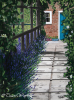 Watercolour/gouache painting of Lavender Fields garden by London artist, Tracie Wayling