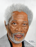 Portrait example, watercolour/gouache painting of Morgan Freeman by London artist, Tracie Wayling