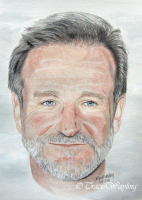 Portrait example, watercolour/gouache painting of Robin Williams by London artist, Tracie Wayling
