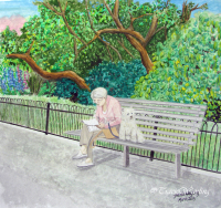 Walking My Human - part of the 'When Time Stops for a Moment' series.  A double take as you realise you don't actually know who's walking who, a humorous perspective on a quiet Sunday morning walking through the park. Gouache/watercolour painting by London artist, Tracie Wayling