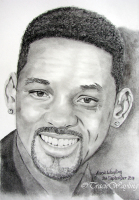 Portrait example of Will Smith, graphite, pastel and charcoal.  By London Artist, Tracie Wayling