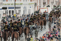 The King's Troop farewell parade to the locals at St John's Wood as they made their way to their new barracks in Woolwich.  Gouache/watercolour painting by London artist, Tracie Wayling