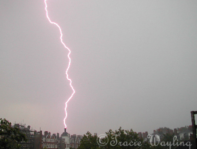 Lightning bolt hitting a tower in St John's Wood, London