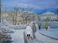 'In Worlds of their Own', part of the 'When Time Stops for a Moment' series.  A snowy, twilight scene, people taking a walk, nature being her beautiful self. this painting depicts how we may all be in the same place, enjoying the surroundings as a whole, yet can still be worlds apart in thoughts and dreams, right down to the little dog and the robin's curiosity for each other.  Gouache/watercolour painting by London artist, Tracie Wayling