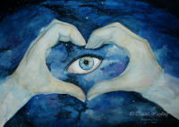 The Eye in the Sky, I love you, gouache, night sky, by Tracie Wayling