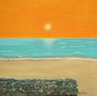 Orange sunset, mint green sea, sleep drawing, painting a dream in a dream, another world, out of body, stone wall, sandy beach