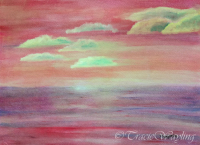 Gouache painting of a red sky with yellow and green clouds that was shown along with a channelled message re New Earth.  Dreams, visions, spiritual awakenings - change is coming.